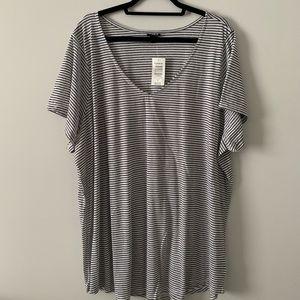 torrid Tops - Size 5X Torrid Black & White Stripe V-Neck Tee NWT